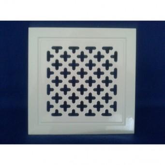 Kratka wentylacyjna metalowa retro 10x14 biała krzyżyki